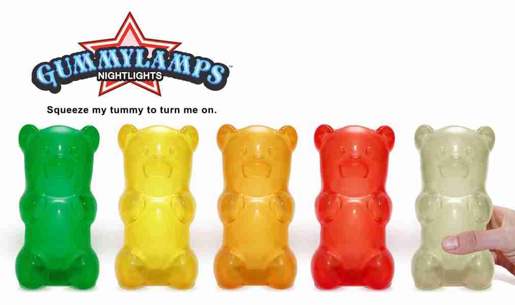 Gummylamp Purple Gummy Bear Lamp Novelty Night Light On