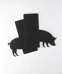 Pig Animal Book Case Divider made from Felt
