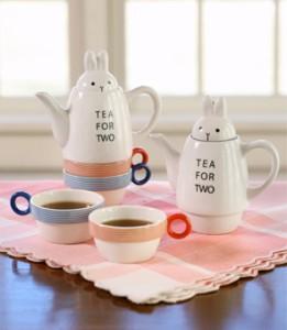 Tea for Two Bunny Rabbit Tea Pot - Cute Japanese Tea Set