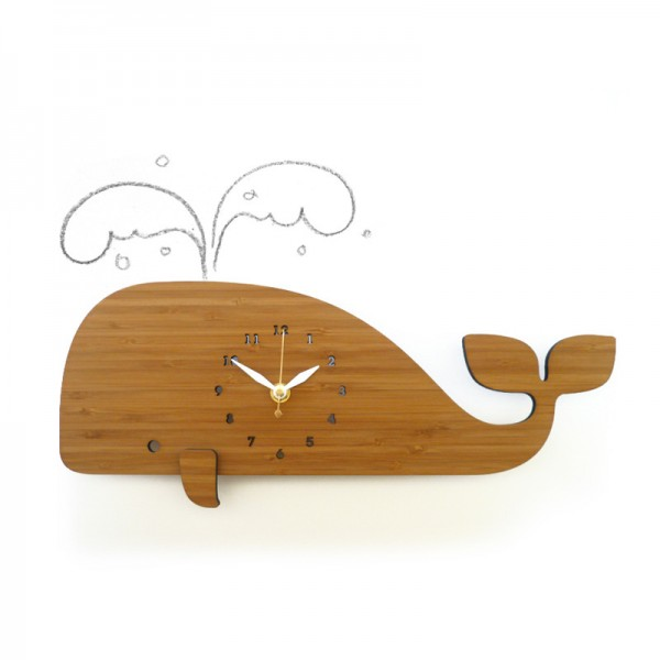 Whale Wall Clock in Bamboo by Decoylab
