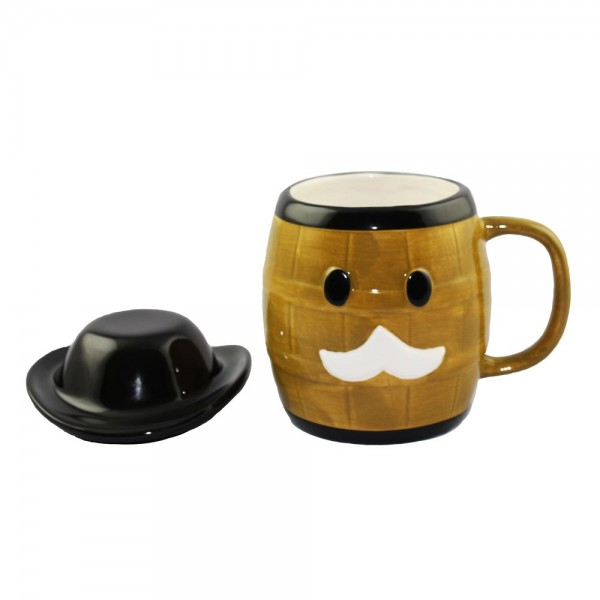Ceramic Grandpa Whiskey Barrel Mug with Bowl