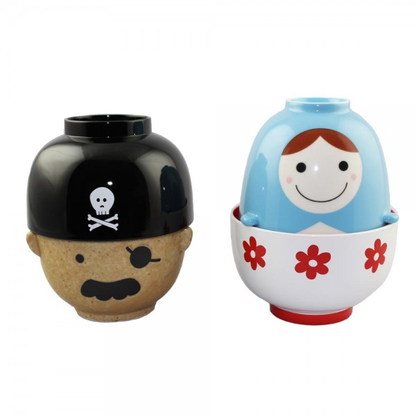 Manpuku - Pirate Captain and Matryoshka Bowl and Lid Sets