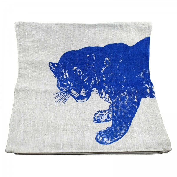 Hand Printed Cushion Jaguar by Lucky Fish