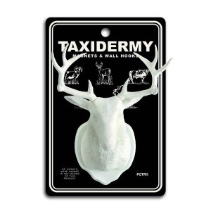white deer taxidermy wall hook and fridge magnet