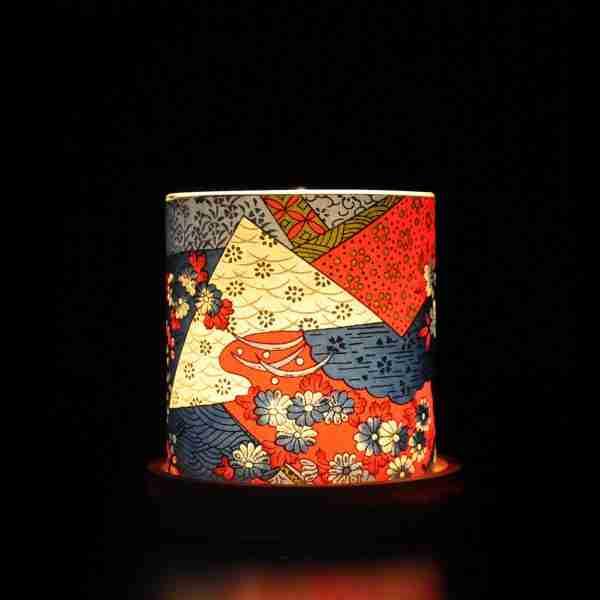 Mini Glass Japanese Chiyogami Lantern - Blue Kimono
