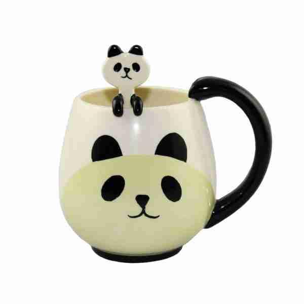 Concombre Round Mug & Spoon Set (Panda) by Decole
