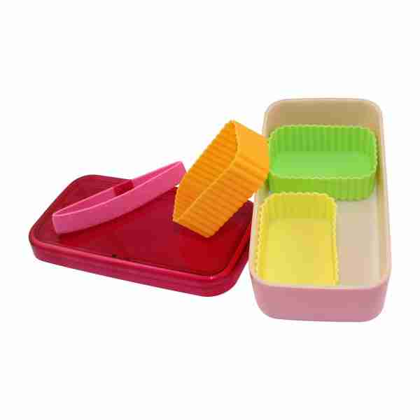 Cooking Lunch Bento Box with Silicone Trays - Pink