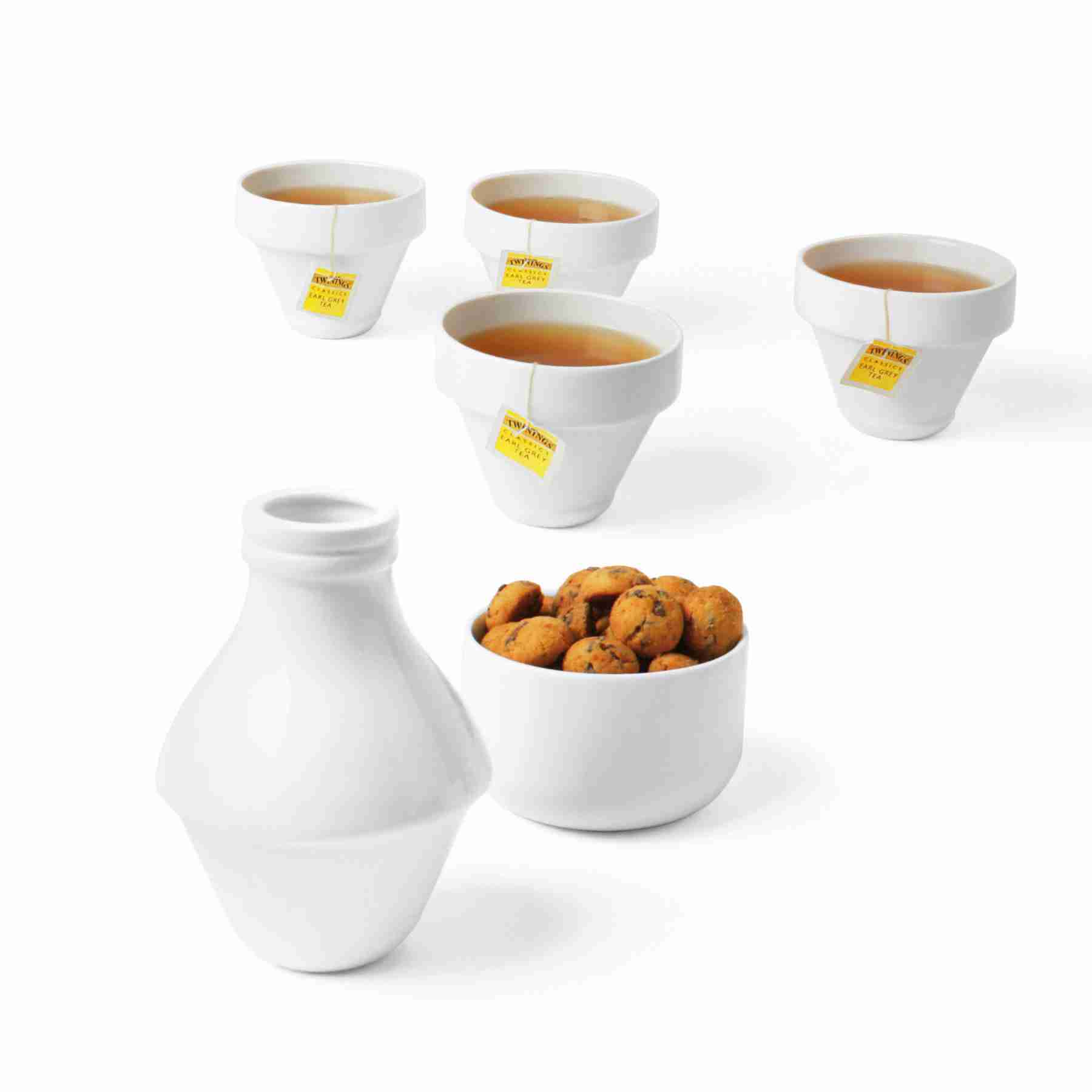 With Milk - Ceramic Set of Jar, Cups and Bowl by DOIY
