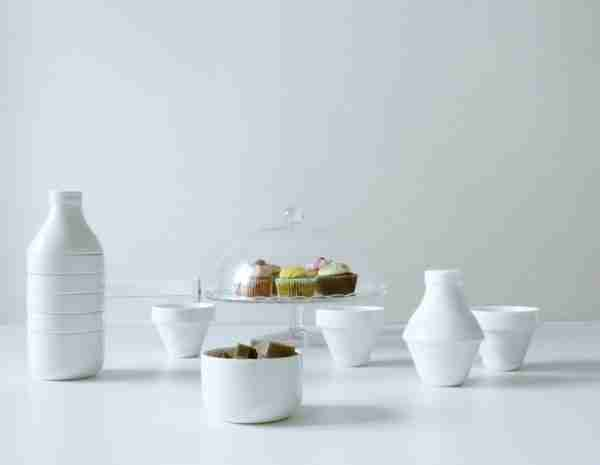 With Milk - Ceramic Set of Jar, Cups and Bowl by DOIY on FOX & MONOCLE