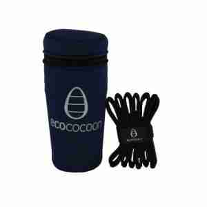 Ecococoon Stainless Steel Picnic Cups - Chrome with Navy Cover