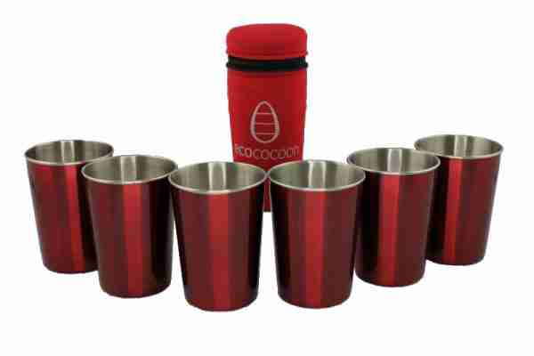 Ecococoon Stainless Steel Picnic Cups - Holiday with Red Cover