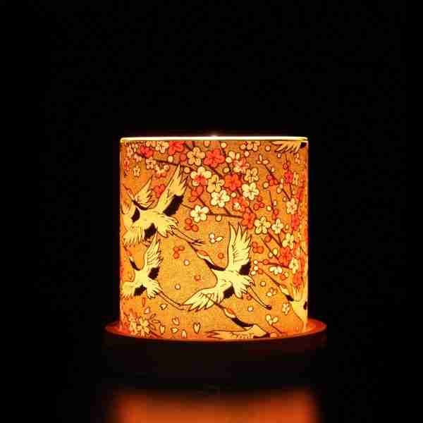 Mini Glass Japanese Chiyogami Lantern - Gold Cranes