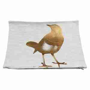 Hand Printed Linen Cushion 12in by 16in - Little Bird Copper Foil
