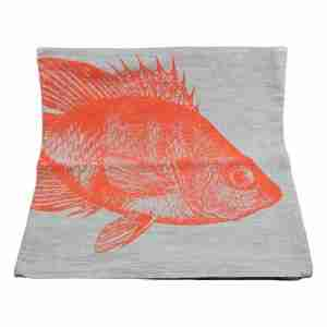 Hand Printed Linen Cushion 18in by 18in - Big Fish Orange