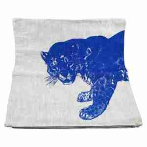 Hand Printed Linen Cushion 18in by 18in - Jaguar Blue