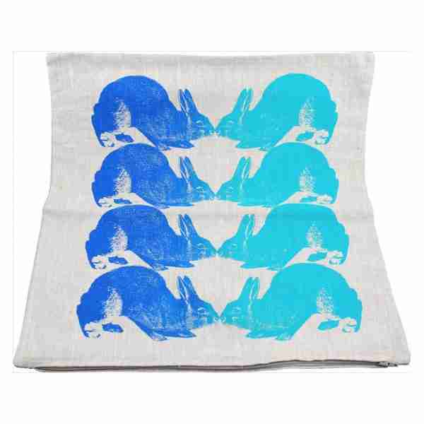 Hand Printed Linen Cushion 18in by 18in - Bunnies Blue