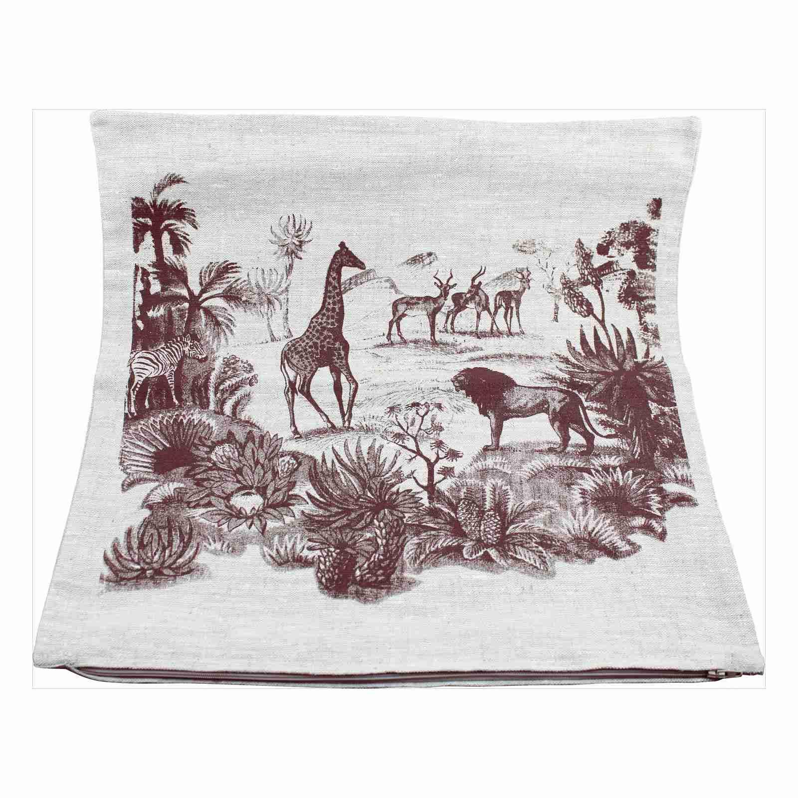 Hand Printed Linen Cushion 18in by 18in - Safari Tan
