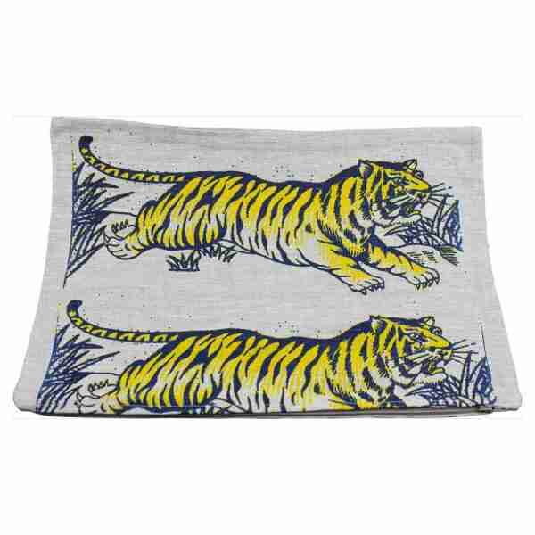 Hand Printed Linen Cushion 12in by 16in - Tigers Blue/Yellow