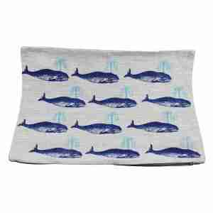 Hand Printed Linen Cushion 12in by 16in - Whales Blue
