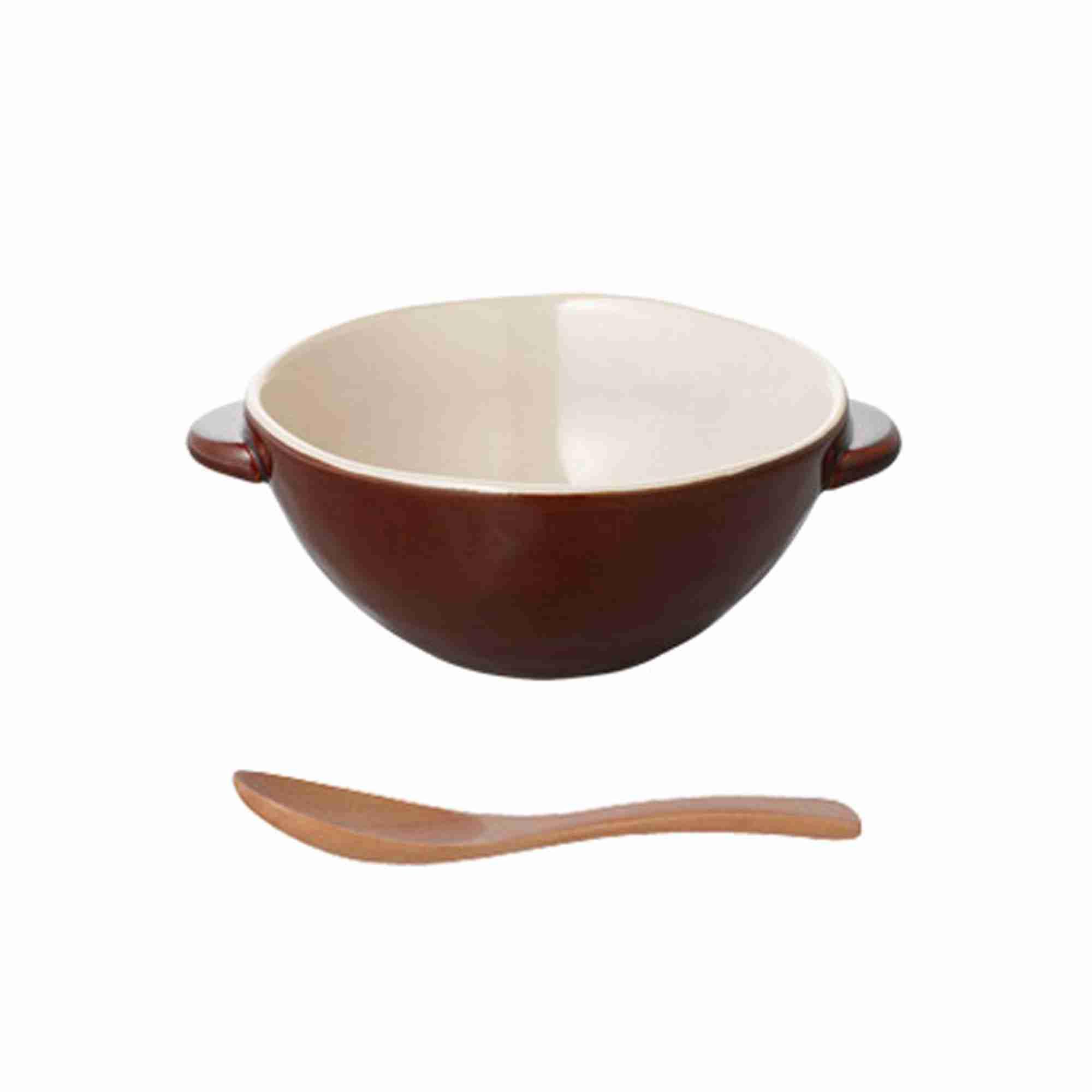 Hokkuri Handmade Bowl with Spoon Set in Brown