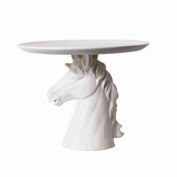 Ceramic Horse Head Cake Plate Stand