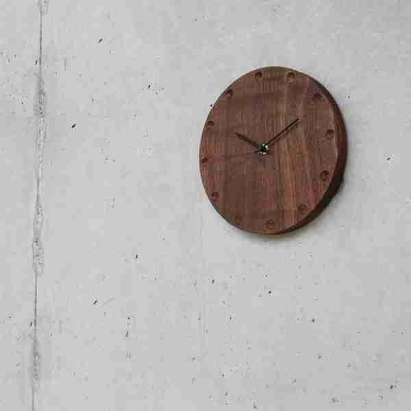Round Wooden Wall Clock (Large) in Walnut by Hacoa