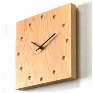 Square Wooden Wall Clock (Large) in Maple by Hacoa