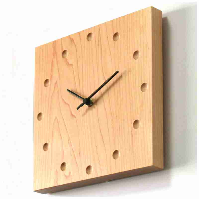 Square Wooden Wall Clock in Maple from Japan Fox and Monocle