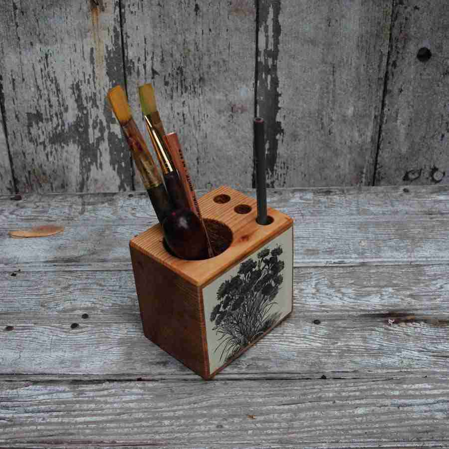 Small Decoupage Desk Caddy from Reclaimed Materials by Peg & Awl