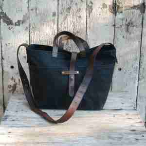 Waxed Canvas Tote from Reclaimed Leather by Peg & Awl (Coal)