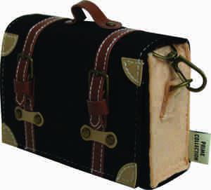 Pochette Cross Body Pouch - Black with Tan Straps
