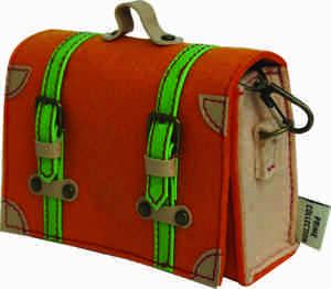 Pochette Cross Body Pouch - Dark Orange with Green Straps