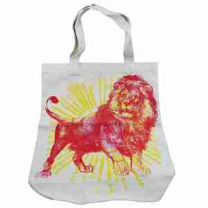 Hand Printed Canvas Tote Bag - Lion Rising