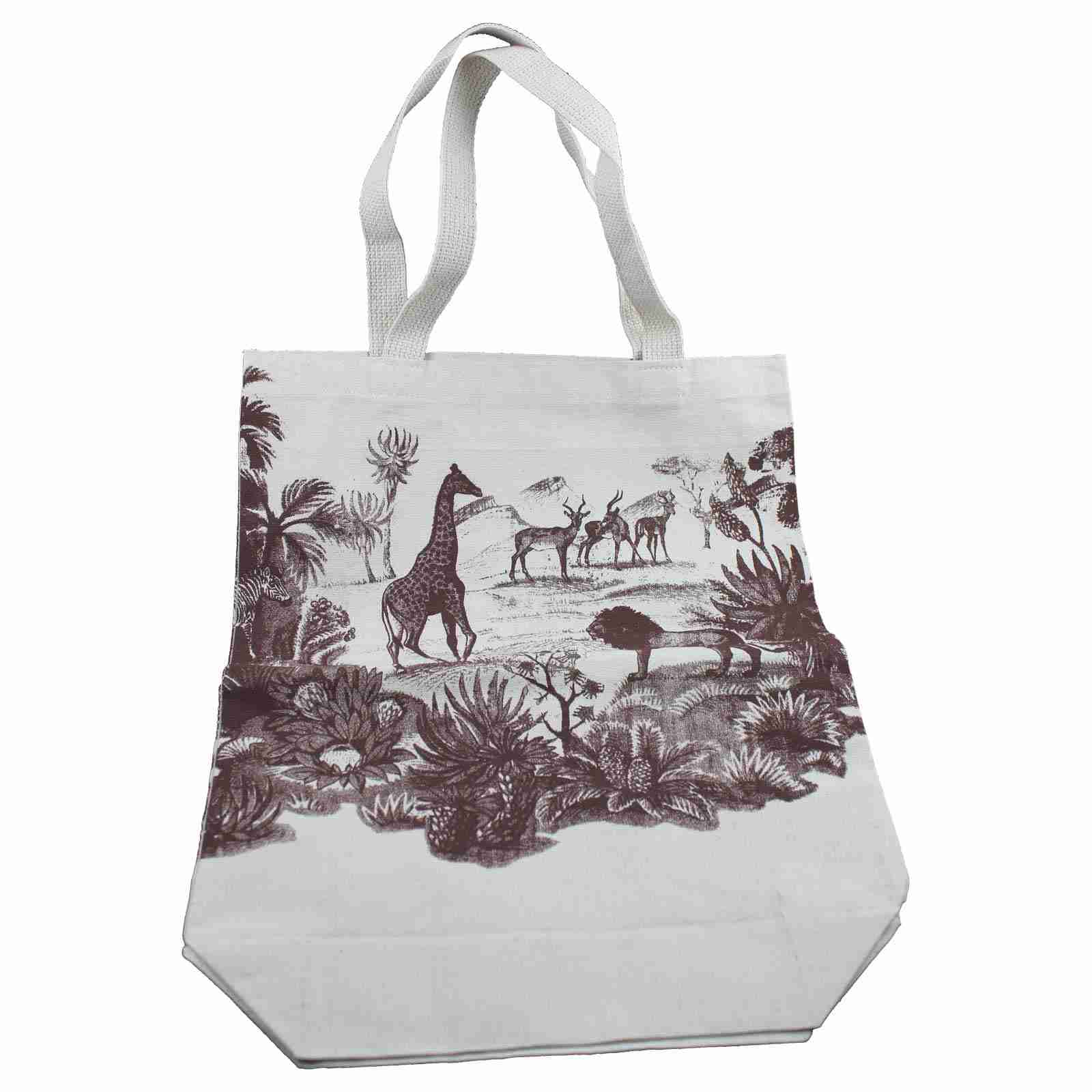 69102851cf Organic Handmade Canvas Tote Bag - Safari Design
