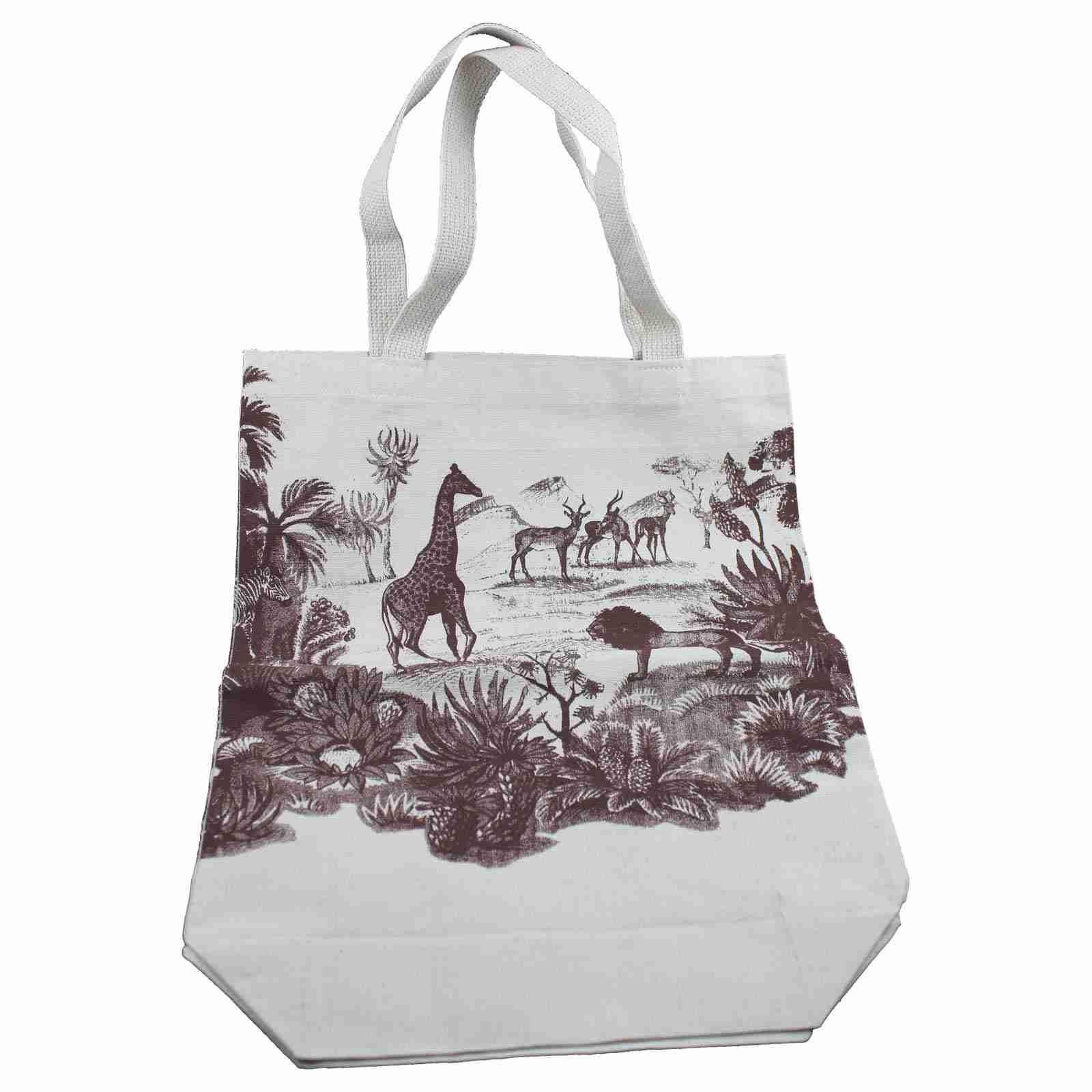 Organic Handmade Canvas Tote Bag - Safari Design | Fox and Monocle