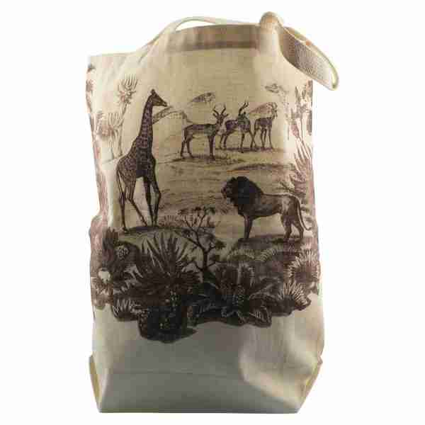 Hand Printed Canvas Tote Bag - Safari Tan