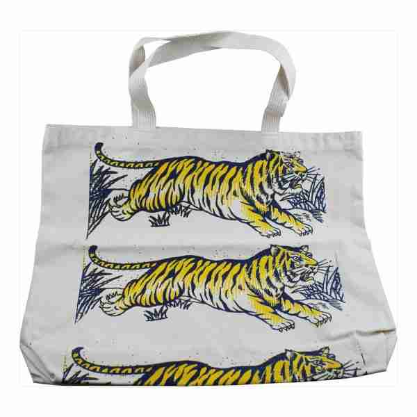 Hand Printed Canvas Tote Bag (Long) - Tigers Blue/Yellow