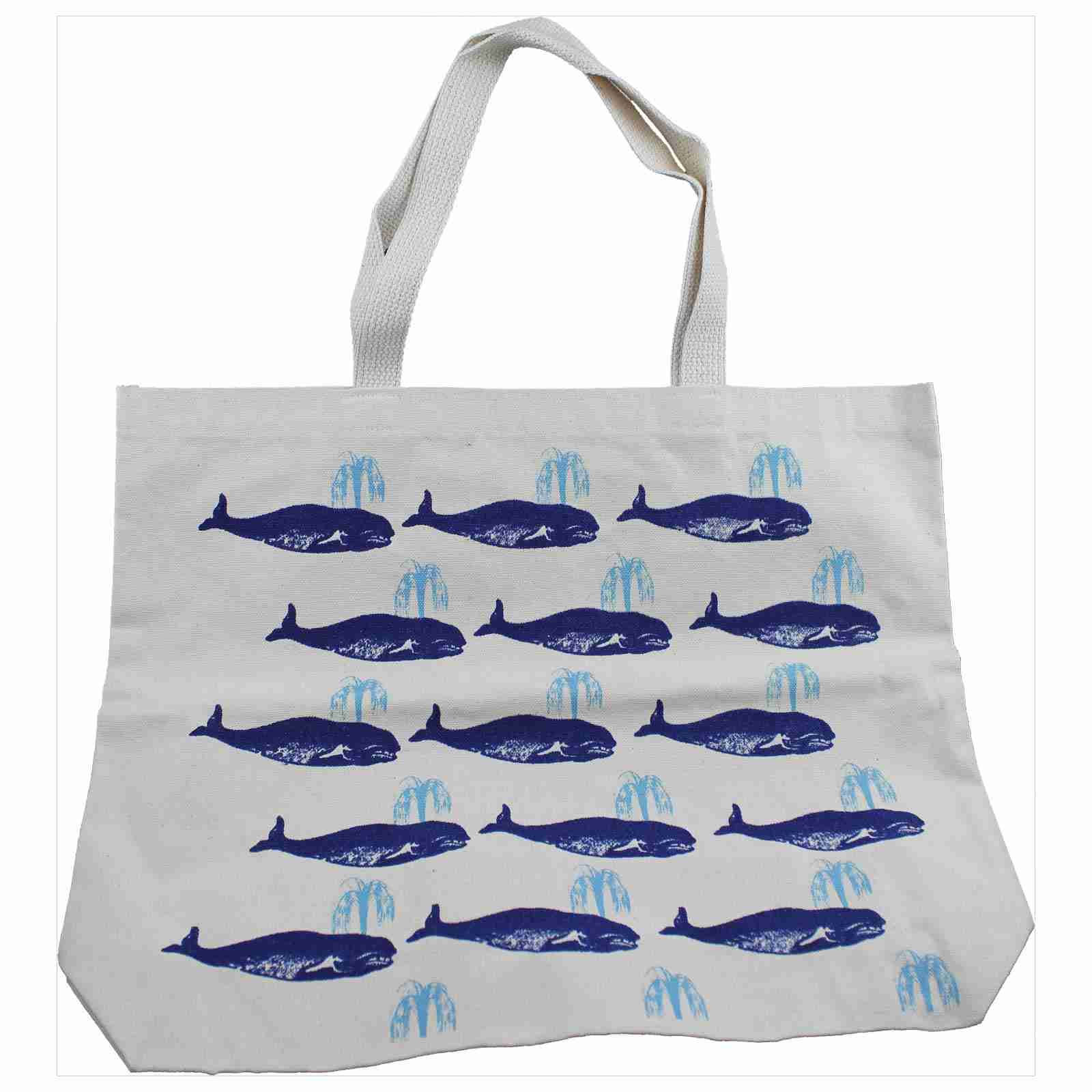 Hand Printed Canvas Tote Bag (Long) - Whales Blue