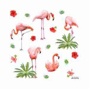 Tropical Flamingoes Cushion with Insert by Club of Odd Volumes