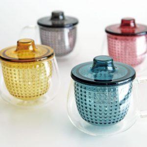 UNIMUG Glass Teapot and Mug in Red by Kinto Japan