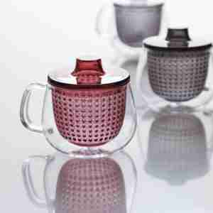 UNIMUG Glass Teapot and Mug in Navy by Kinto Japan