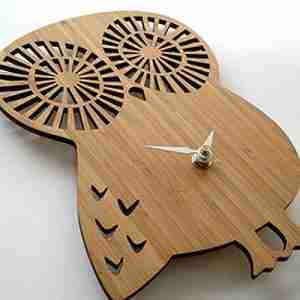 Owl Bamboo Clock in Eco Friendly Bamboo by Decoylab (Small)