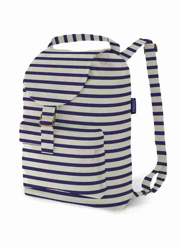 Baggu Sailor Stripe Cotton Canvas Backpack with Pockets