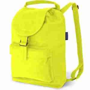 Baggu Neon Yellow Cotton Canvas Backpack with Pockets