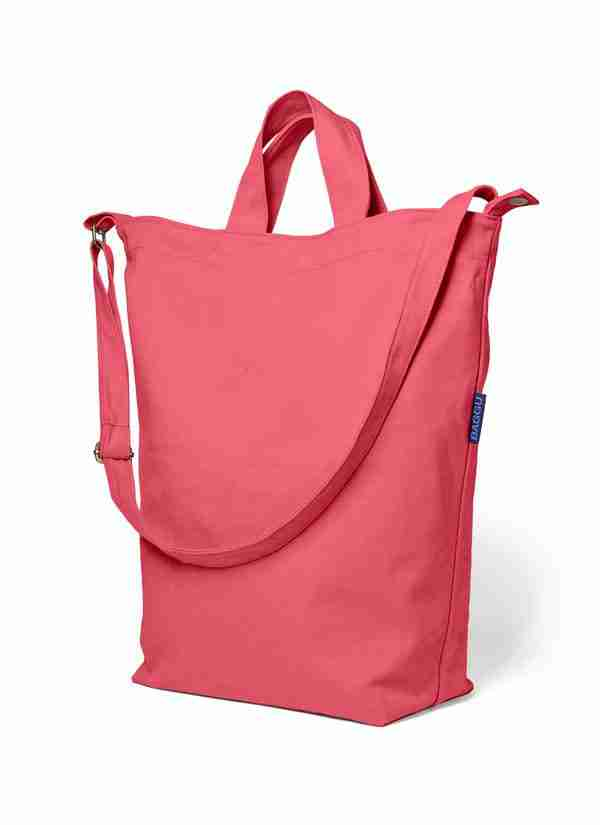Baggu Cotton Duck Tote Bag with Strap Hot Pink