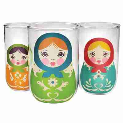 Babushkups Nesting Set of Three Stylish Glass Tumblers