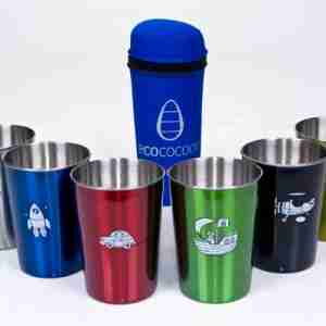 Eco Friendly Stainless Steel Picnic Cups - Boys Adventure / Blue Cover