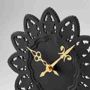 "The Cake Clock - Ceramic Rice ""Rice Paper"" Wall Clock in Black"