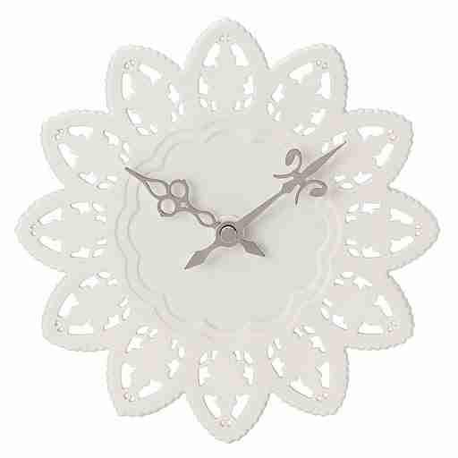 "The Cake Clock - Ceramic ""Rice Paper"" Motif Wall Clock in White"
