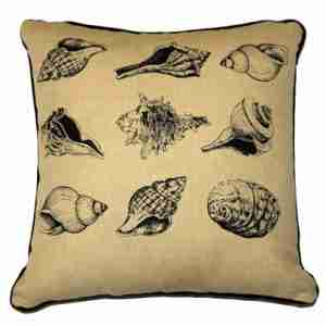 Seashell - Hand Printed Cotton/Linen Cushion